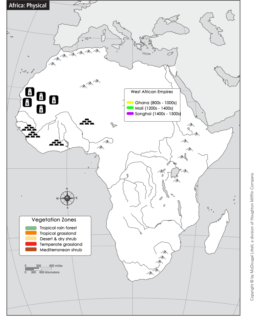 SWBAT identify the locations of medieval West African trading