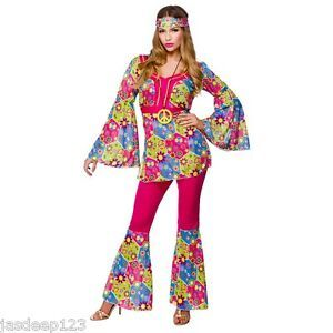 70s Groovy Baby Hippy Flared Costume 60s Hippie Womens Ladies Fancy Dress Outfit