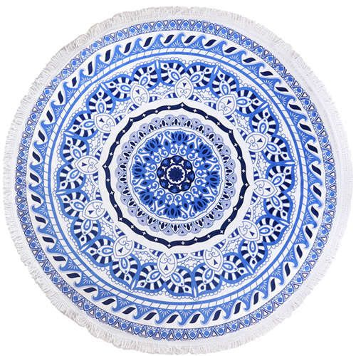High Quality 100 Cotton Summer Large Round Beach Towel Mandala Ocean Boho Spin Cycle Blue Printed Designs 1 Cotton Beach Towel Beach Towel Round Beach Towels