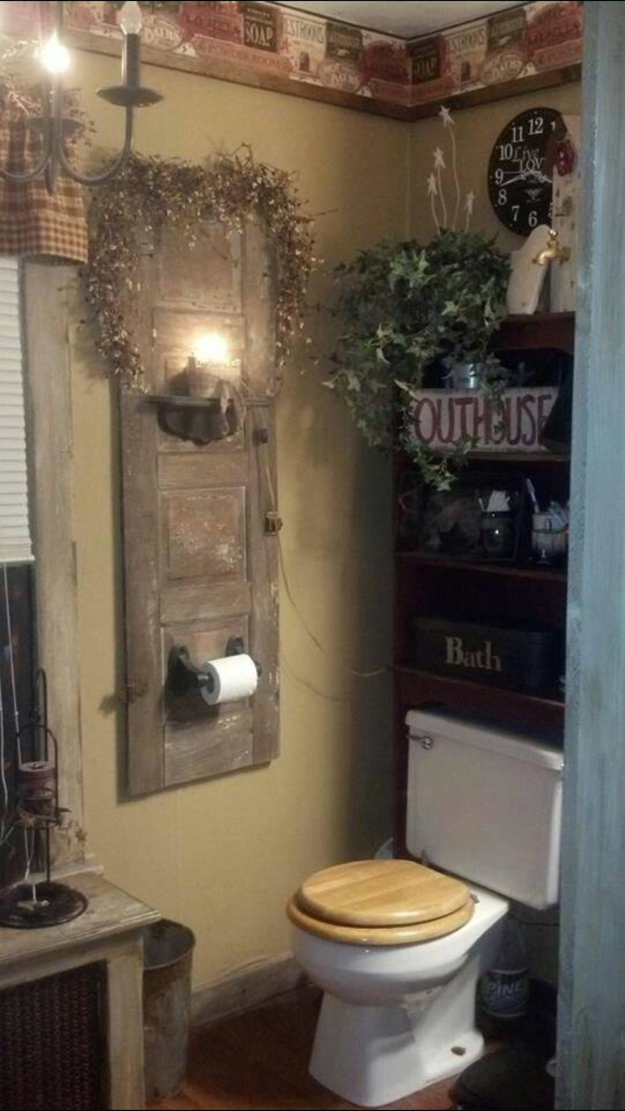 Primitive country bathroom ideas - Love This Idea For Hanging The Toilet Paper Holder Very Creative Like The Toilet Paper Holder And Shelves Above The Toilet