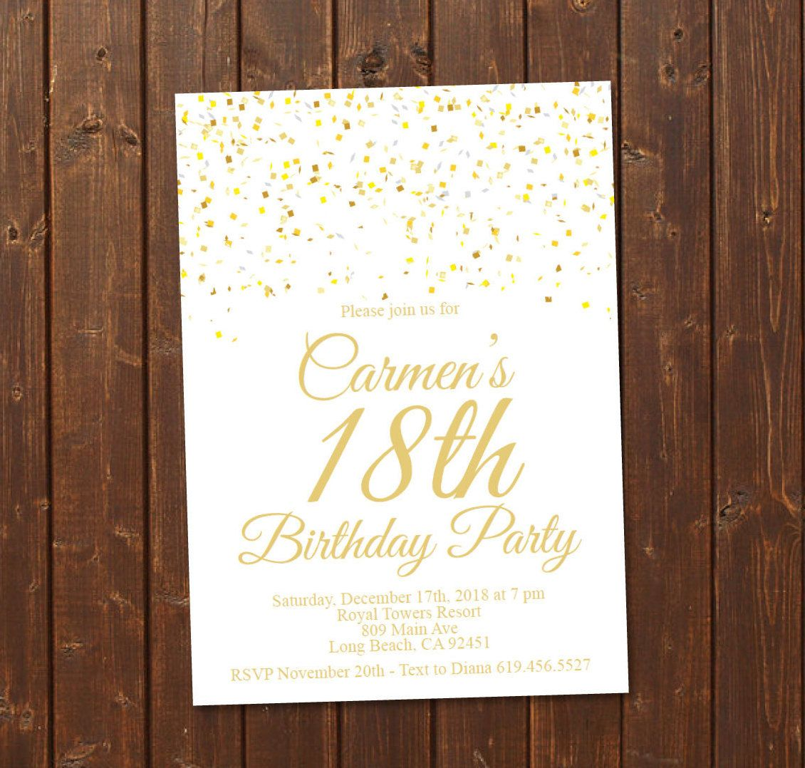 18th Birthday Invitation Printable Gold And White E Card Invite Template Eighteenth Any Age By