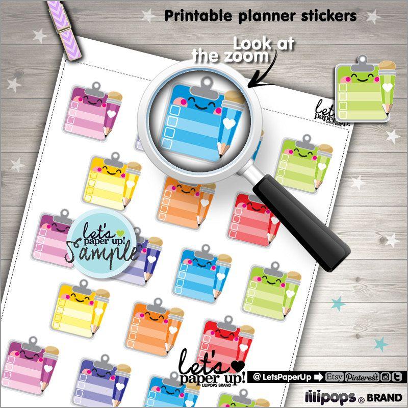 Checklist Stickers, Printable Planner Stickers, Erin Condren, Kawaii Stickers, Rainbow Stickers, Clipboard Stickers, Planner Accessories