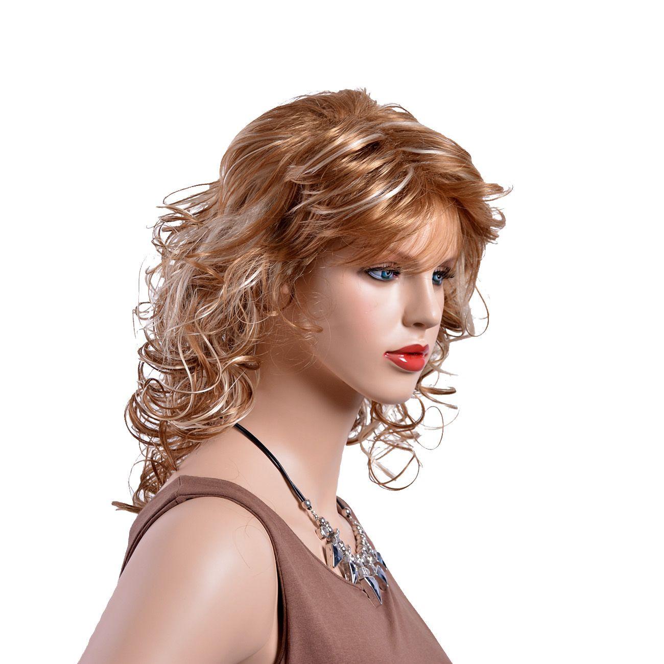 2019 new shoulderlength gold wig rolledup diagonal
