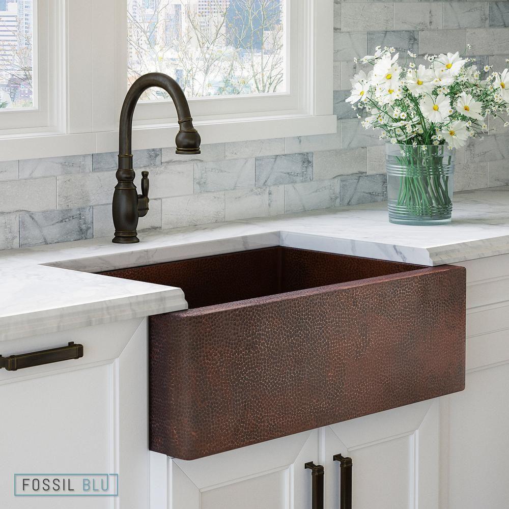 Fsw1100 Luxury 33 Inch Pure Hammered Copper Farmhouse Kitchen Sink