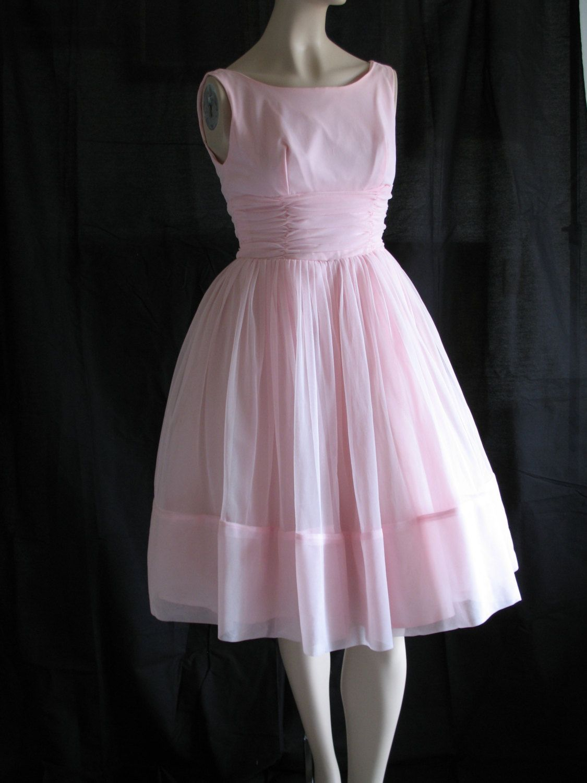 1950s 1960s Pink Chiffon Dress Prom Party Small. $125.00, via Etsy.