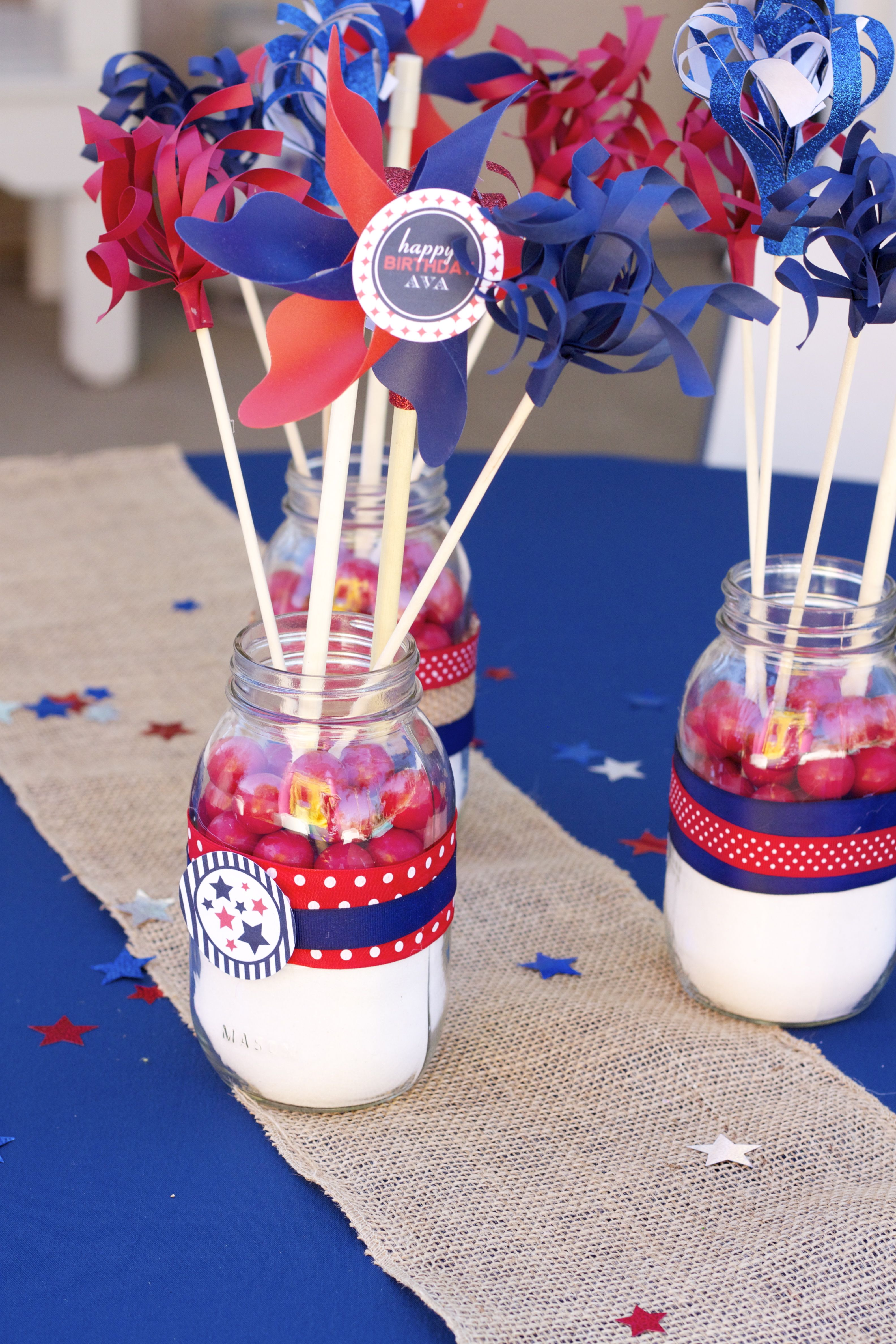 Mason Jar Centerpieces With Homemade Firework Sticks And Pinwheels