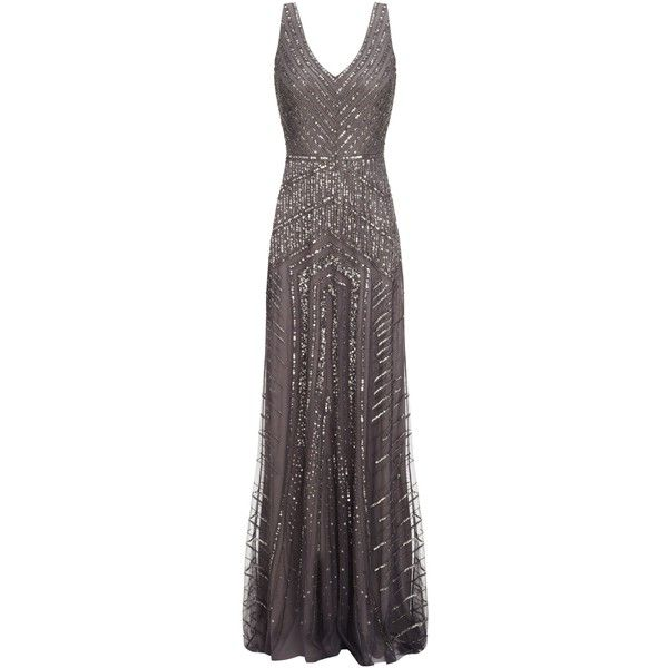 Adrianna Papell Long Beaded Gown, Gunmetal and other apparel ...