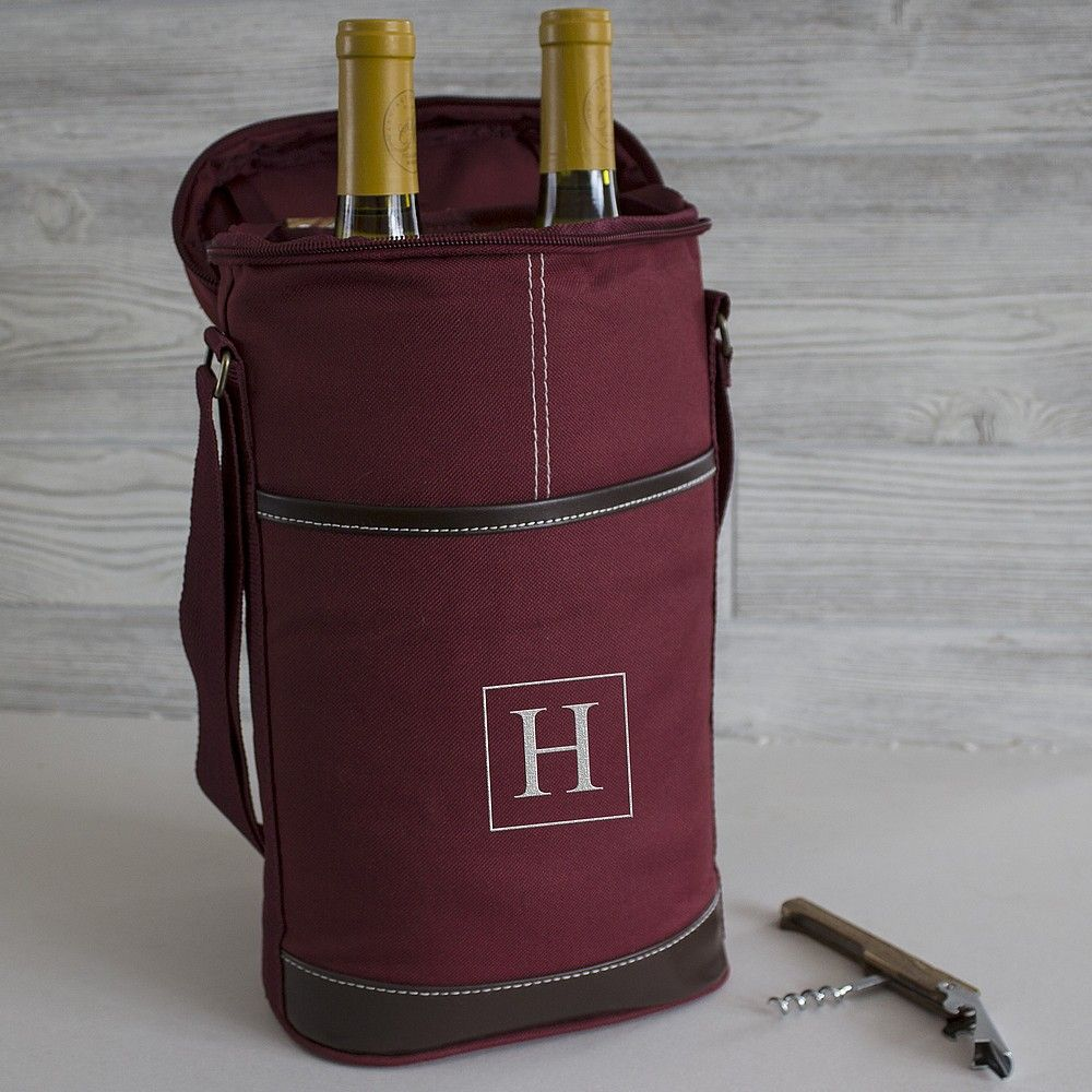 Wine Bottle Carrying Bag Insulated Navy Canvas Personalized Personalized Wine Bottles Wine Tote Soft Sided Coolers