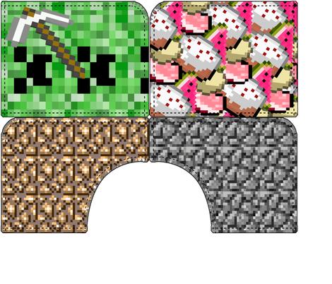 Lily's Minecraft shorts, pockets fabric by muddyfoot on Spoonflower - custom fabric