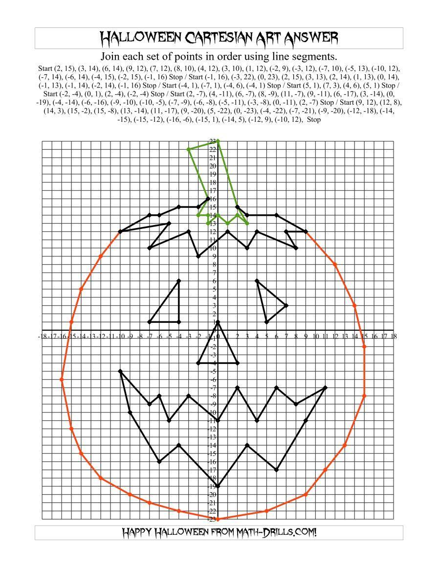 The Cartesian Art Halloween Jack O Lantern Math Worksheet From The Halloween Math Worksheets Page Halloween Math Worksheets Halloween Math Halloween Worksheets [ 1165 x 900 Pixel ]