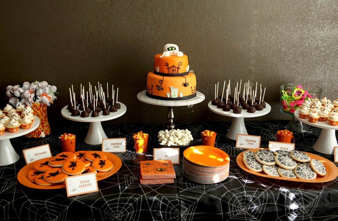 Children S Spooky Treats Table Birthday Halloween Party Halloween Dessert Table Spooky Treats