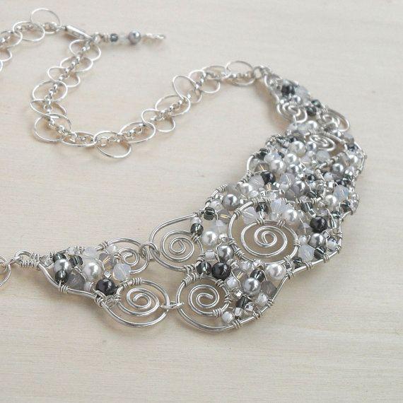 Sterling Silver Choker Bib Necklace Wedding Swarovski Crystal Beads ...