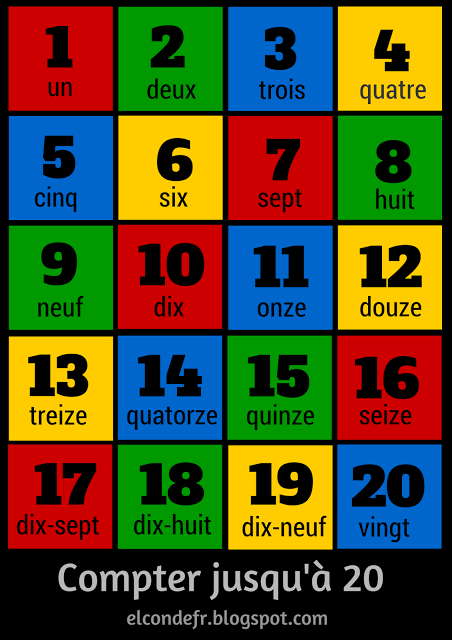 French numbers 1-20. Apprendre à compter jusqu\'à 20 | Math in French ...