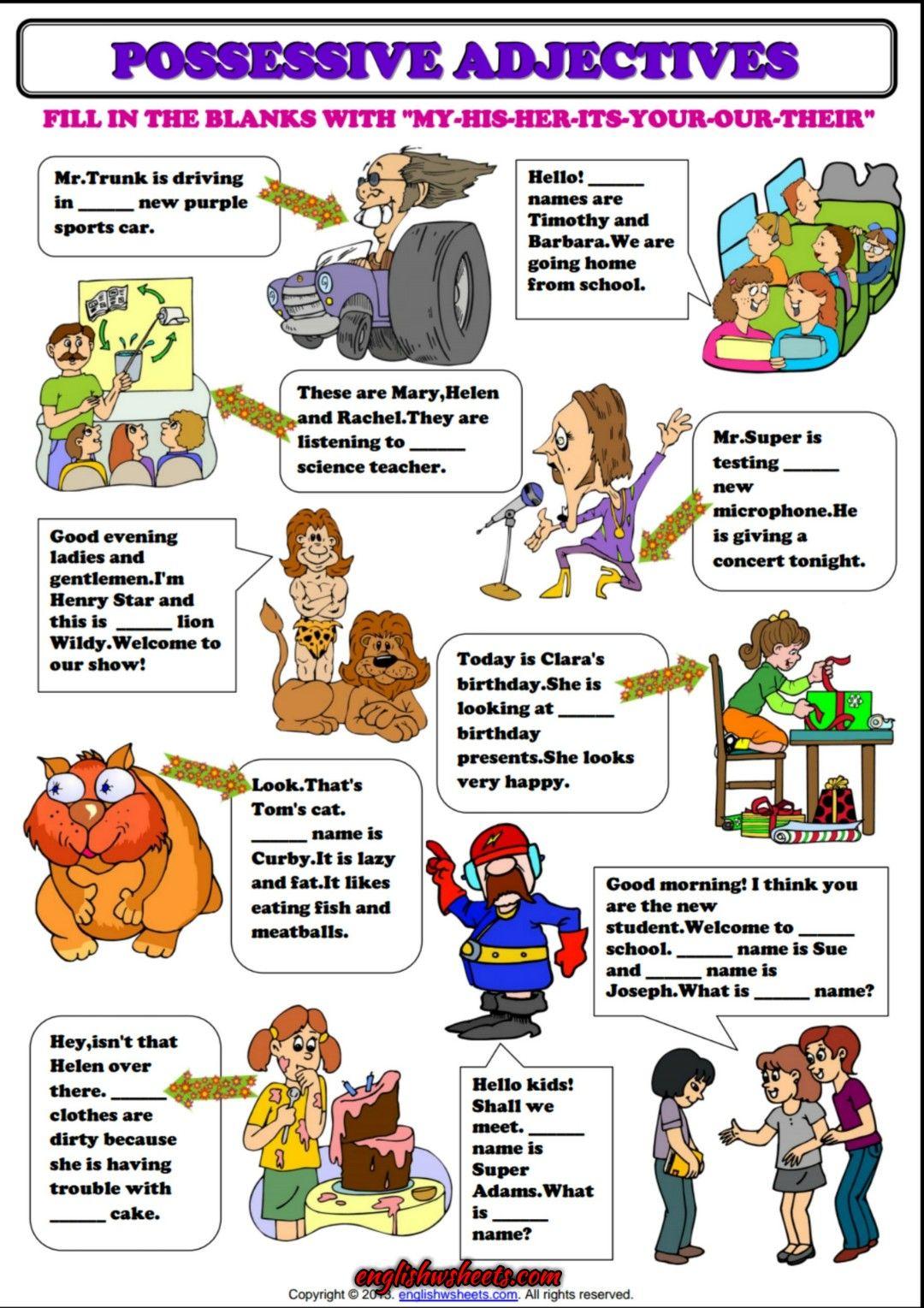 Possessive Adjectives ESL Grammar Exercise Worksheet | Esl Printable ...
