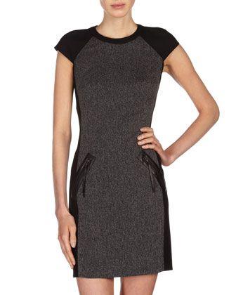 52b51d1118 Mixed-Media Sheath Dress