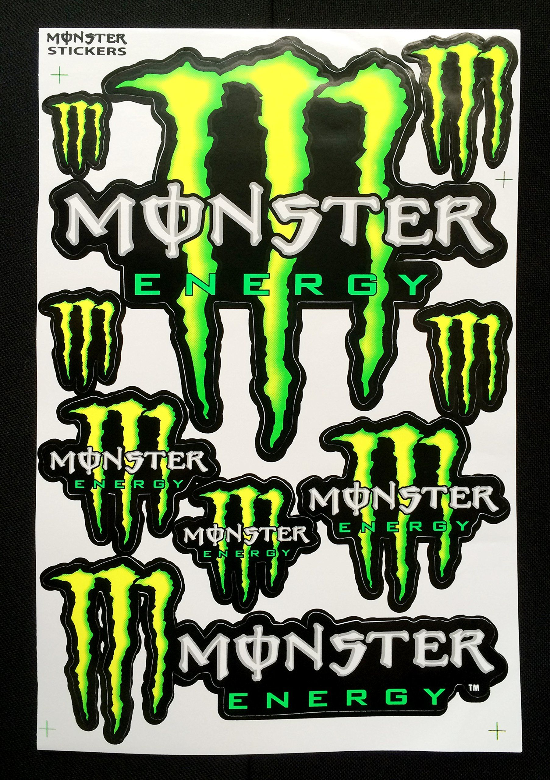 4 monster energy drink stickers sheet for helmet bike dirt bike atv skateboard motorcross car decal automotive exterior accessories decals bumper stickers