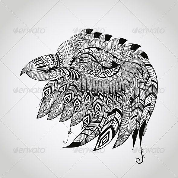 Native American Hawk Symbol Graphicriver Tattoo Eagle Head 7620657