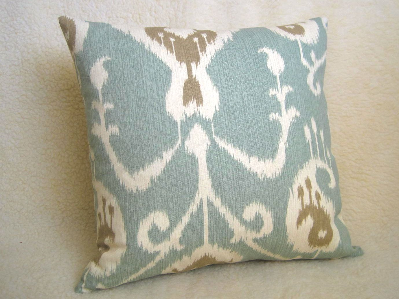 ikat decorative pillow light blue tan cream 16 inch both ikat decorative pillow light blue tan cream 16 inch both sides designer pillows ikat pillow light blue pillow