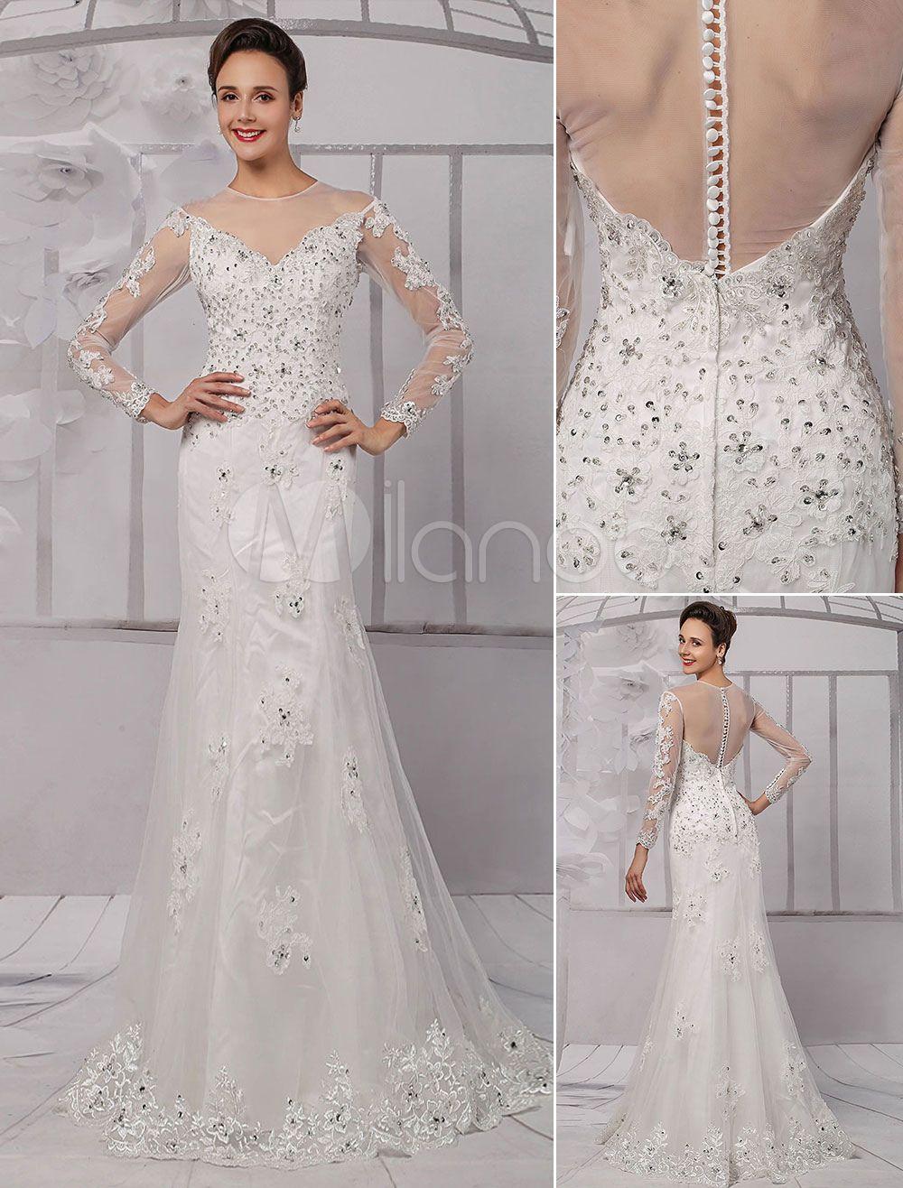 Lace illusion neckline longsleeves kneelength sheath wedding dress