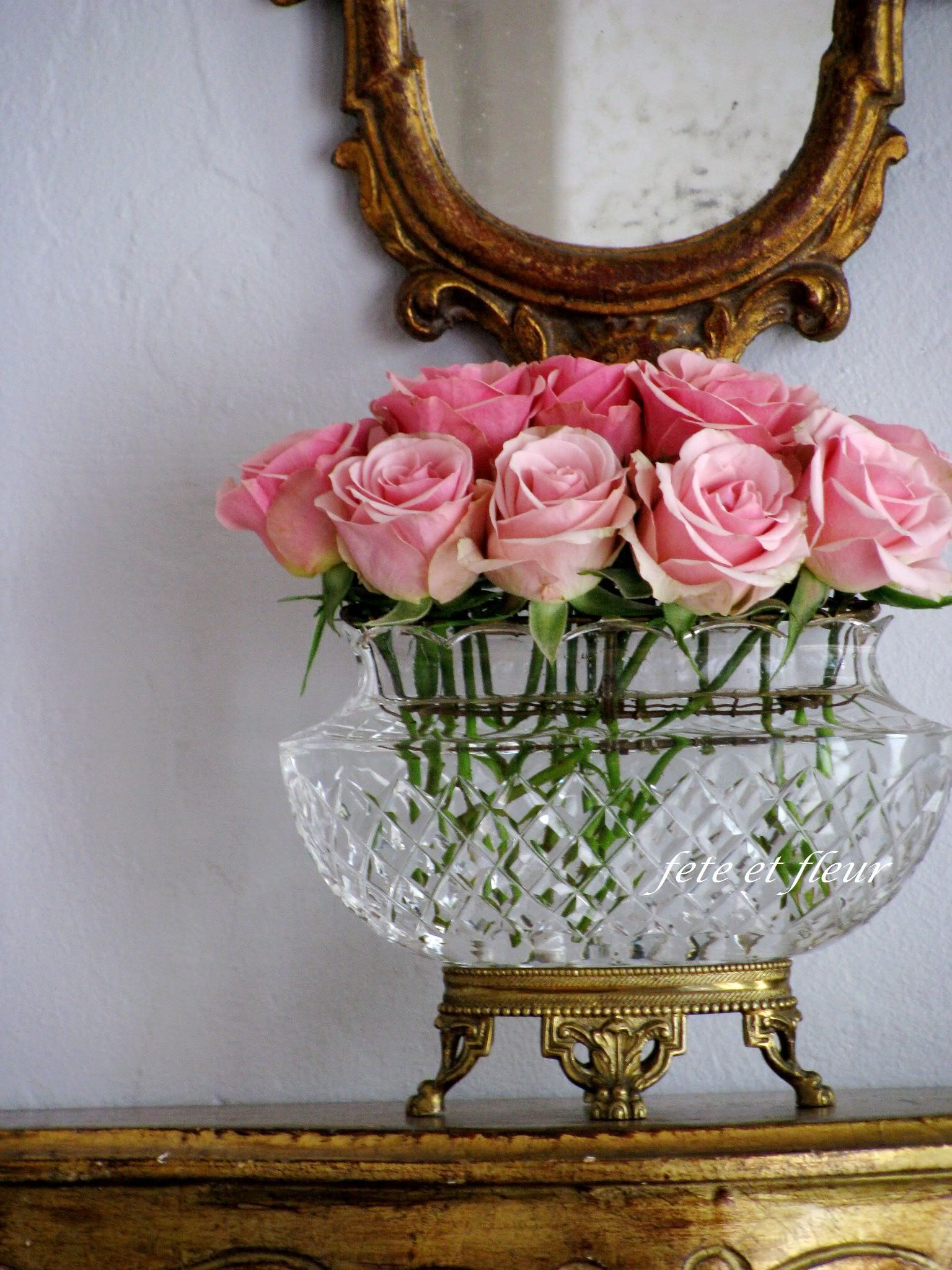 Perfect pink roses in footed crystal bowl {House Beautiful
