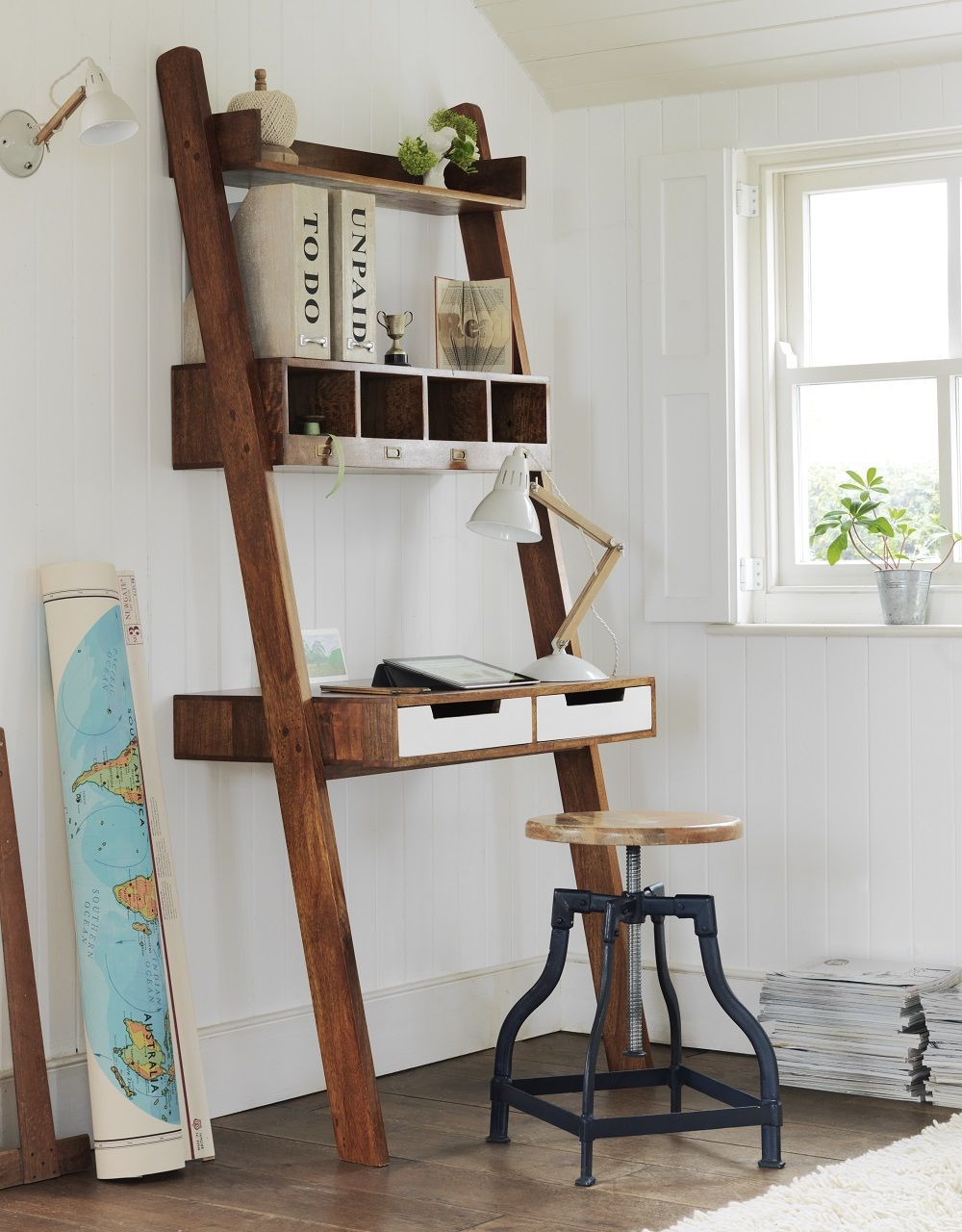 Small home office ideas delivering big vintage industrial style