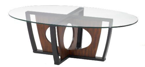 Armen Living 6207 Decca Oval Glass Top Coffee Table Armen