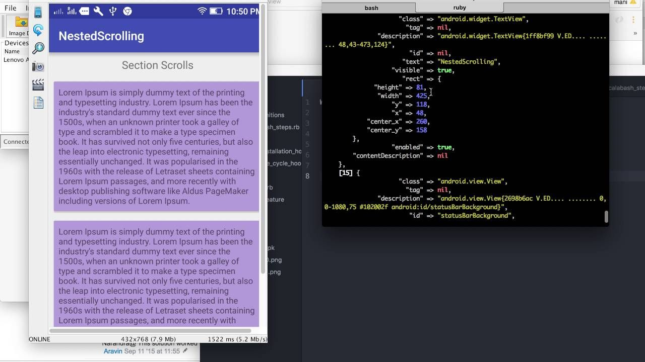 Quick Bites : How to scroll NestedScrollView using calabash