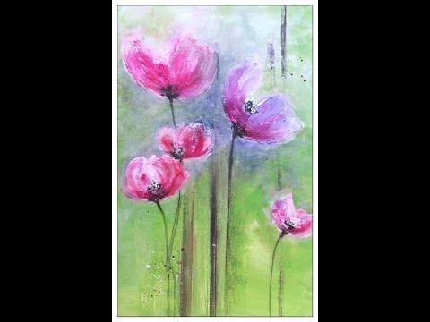 Painting Flowers Tutorial Blumen Malen Struktur Mit