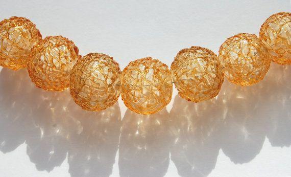 Spun Sugar Lampwork Hollow Beads (7) SRA, UK, FHFteam Y3