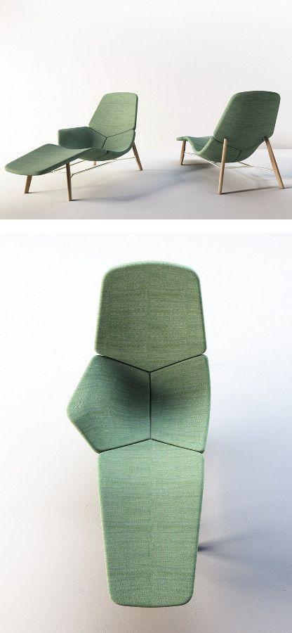 Fabric Chaise longue ATOLL By Tacchini design Patrick