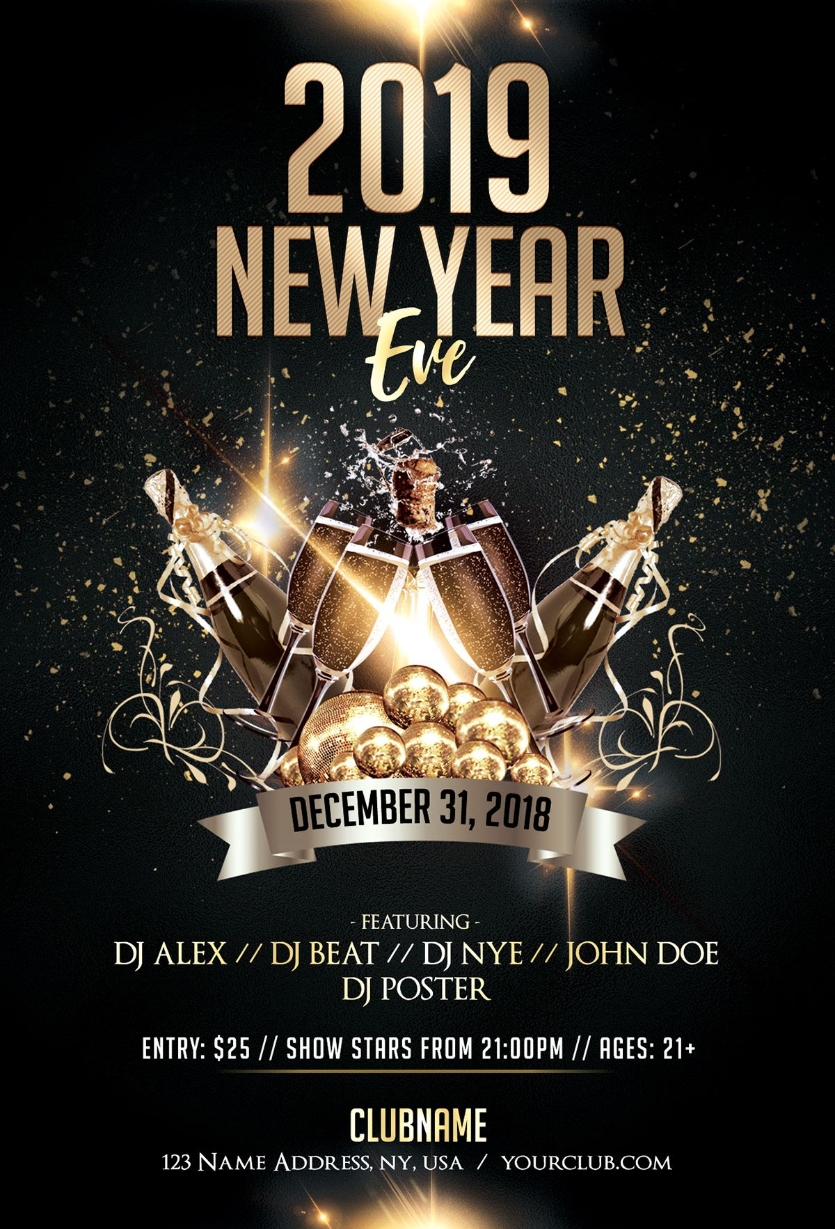 2019 New Year Eve Luxury Free Psd Flyer Template Affiche De