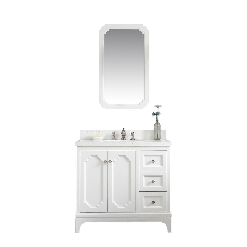 Water Creation Queen 36 In Bath Vanity In Pure White With Quartz