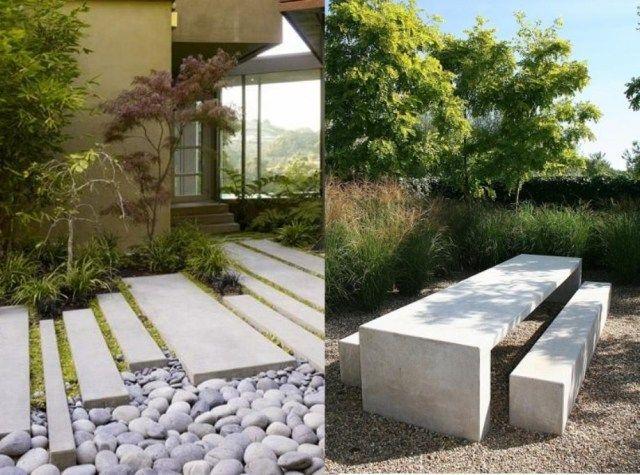 Garten landschaft gestaltung beispiele beton trittplatten sitzm bel jardines pinterest - Garten trittplatten ...