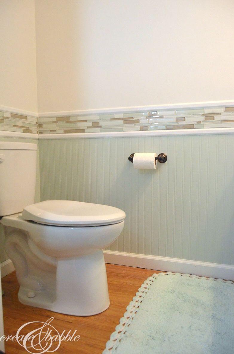 Powder room makeover bead board bathroomglass tile also best images on pinterest bathroom ideas
