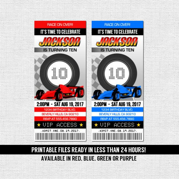 RACE CAR TICKET Invitations Birthday Party Go Kart Racing - printable ticket invitations
