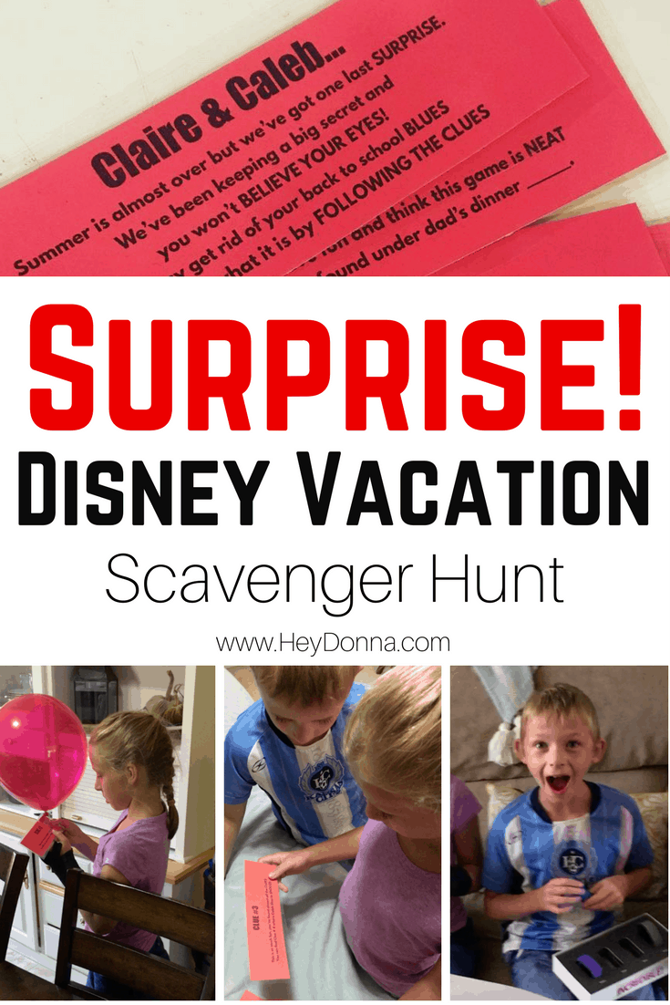 How we surprised our kids with a Disney Vacation. We used a scavenger hunt to tell our kids we're going to Disney World!