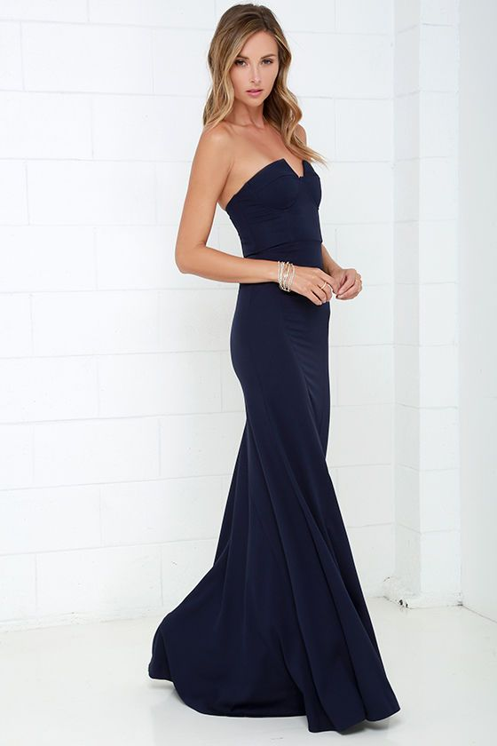ad90a15d9a2a We didn't know a maxi dress could be as sultry at the Ladylove Navy Blue  Strapless Maxi Dress! You'll love the sexy fit of the woven, bustier bodice  with a ...