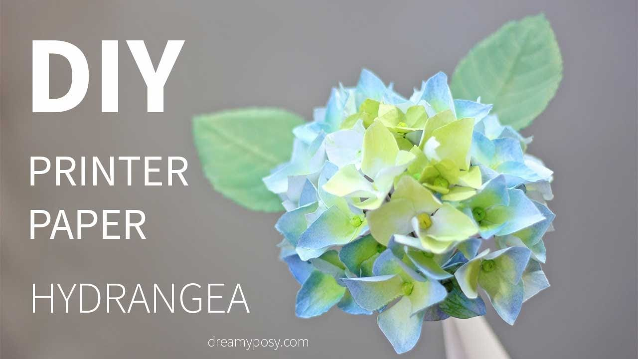 Free Template And Tutorial Paper Hydrangea Flower From Printer Paper Very Easy Youtube Paper Flower Template Paper Flowers Diy Easy Paper Flowers