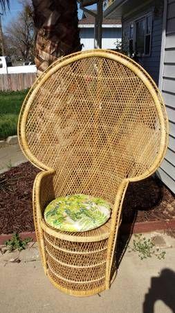Peacock chair vintage 1960's handmade woven rattan