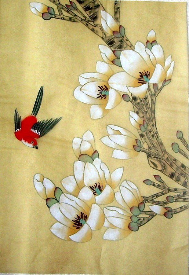 Asian Japanese Hand Painted Silk Painting Flower Bird665 Silk