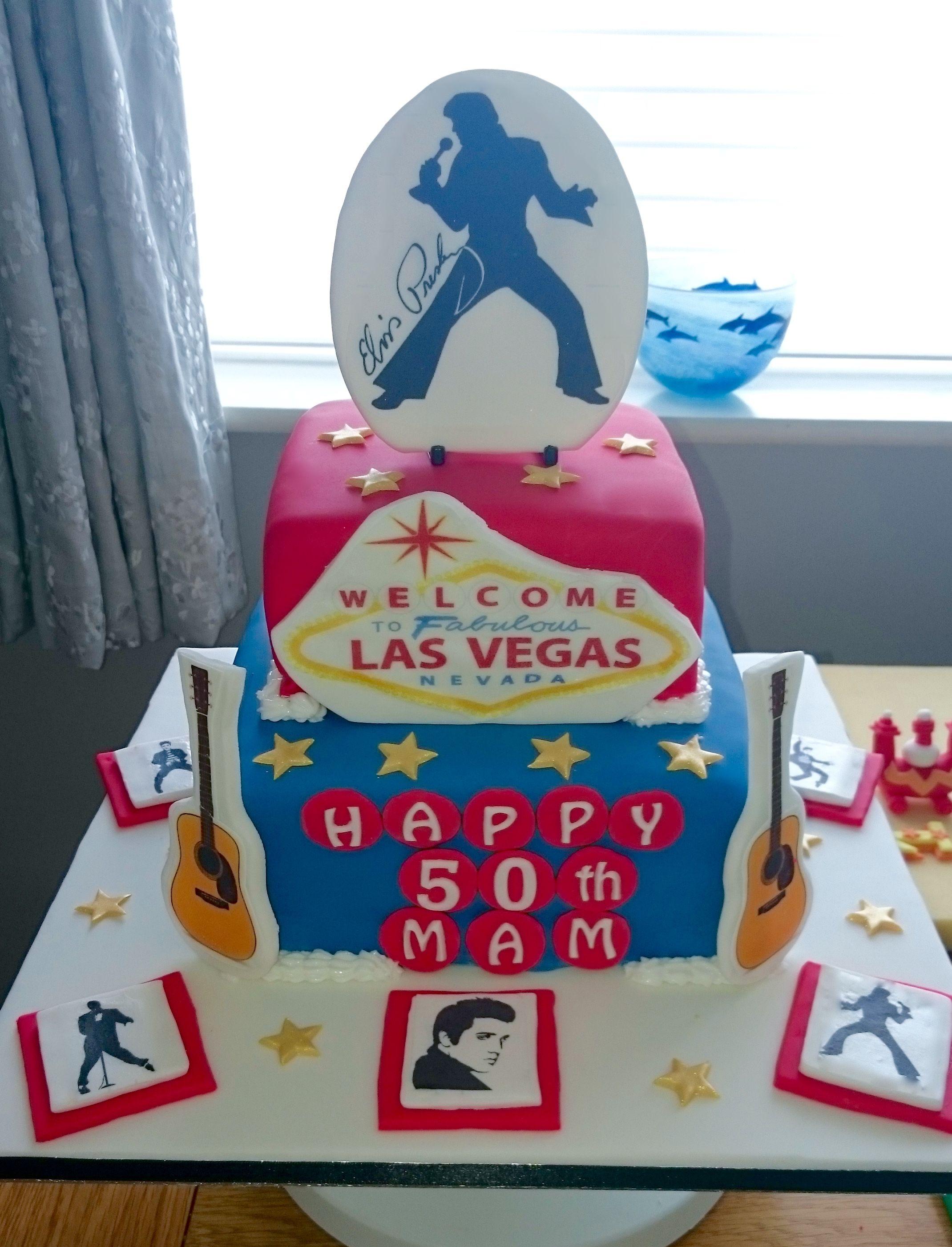 Elvis Presley Las Vegas Birthday Cake Elviskakut Pinterest
