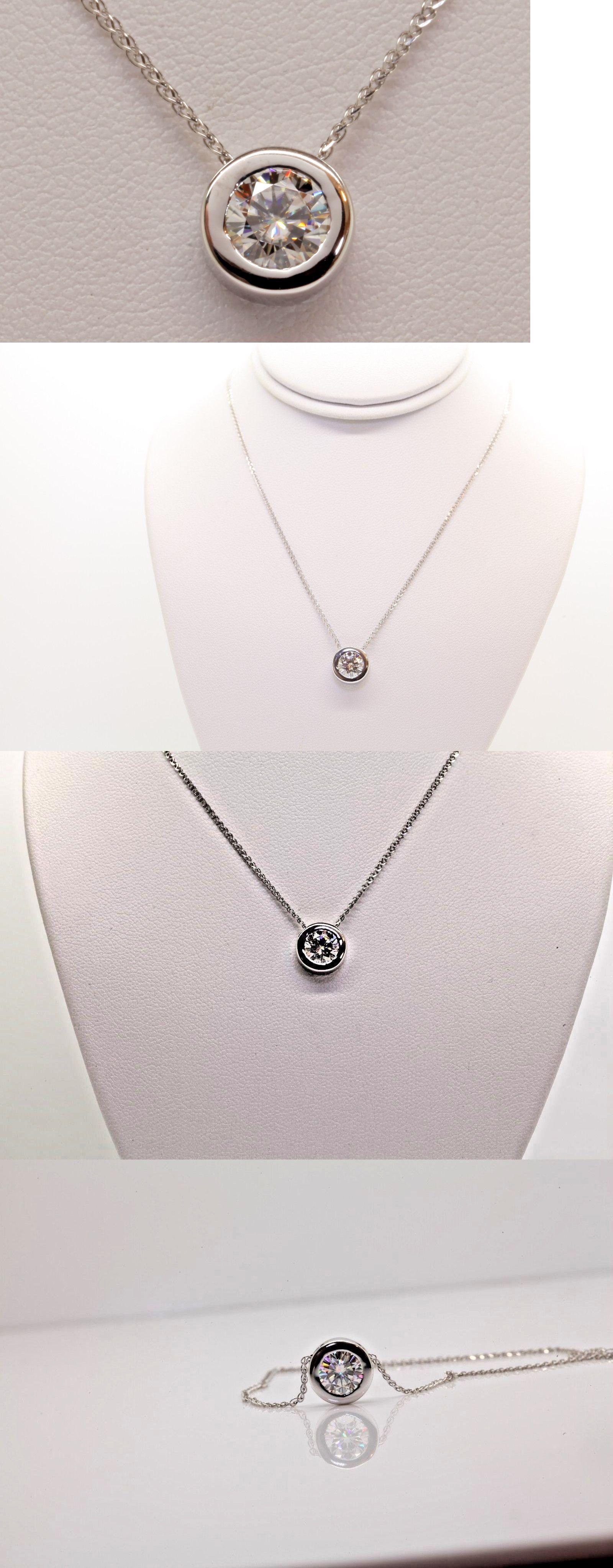 Ct moissanite round pendant necklace bezel set k white gold in