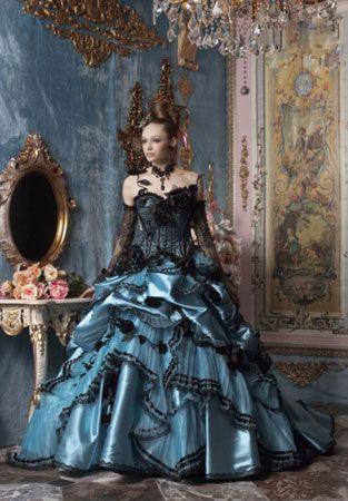 Blue wedding dress gothic wedding dress blue satin and for Blue gothic wedding dresses