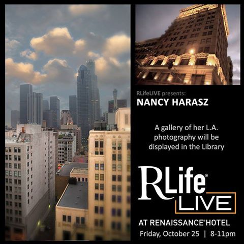 We have an exciting night planned! We are displaying a gallery of Nancy Harasz's LA photography in the Library from 8 to 11pm. Alfa Garcia will be singing from 9 to 11pm with our late-night happy hour during her performance. #RLifeLIVE #LA