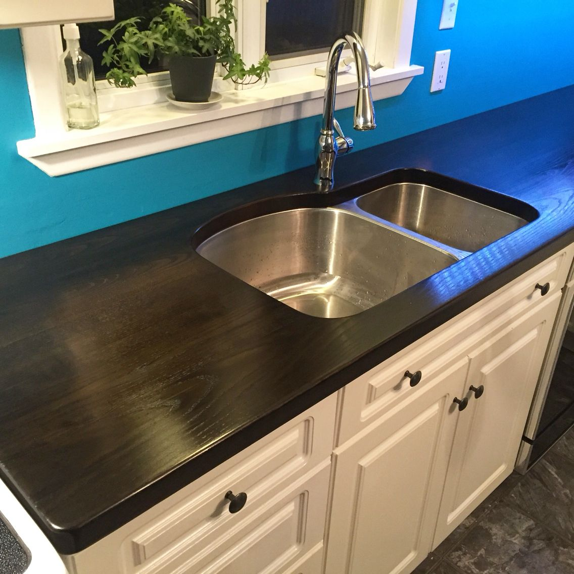 Our Gorgeous New Countertop Dark Stained Ash Wood Finished With Ez Do Wipe On Polyurethane This Ain T No Butcher Block