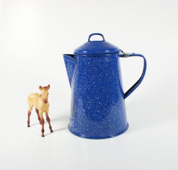 Vintage Cinsa Enamelware Teapot Coffee Pot by vintagefindsetcetera, $24.00