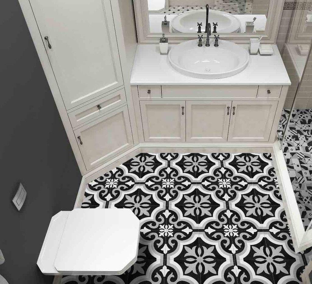 heritage porcelain tile black and white
