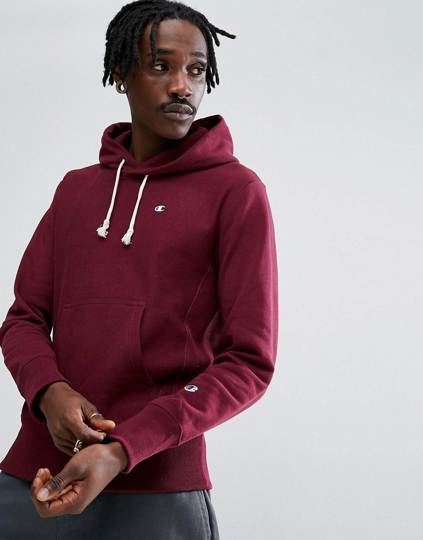 CHAMPION HOODIE WITH SMALL LOGO IN BURGUNDY RED. #champion