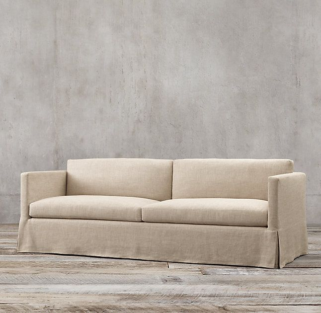 Belgian Classic Shelter Arm Slipcovered Two Seat Cushion Sofa In