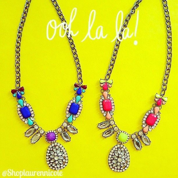 We just received a big box of amazing jewelry... Here's a Sneak Peek! #jewelry #statementnecklace #gorgeous www.Shoplaurennicole.com